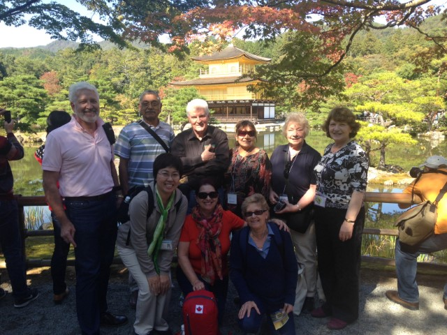 Tour guests at the Golden Pavilion