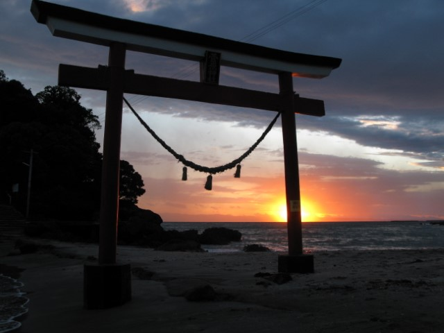 Shrine gate at sunset
