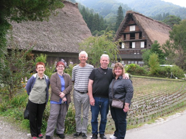 Enjoying thatched roof village